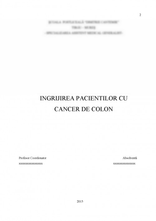cancer de colon plan de ingrijire