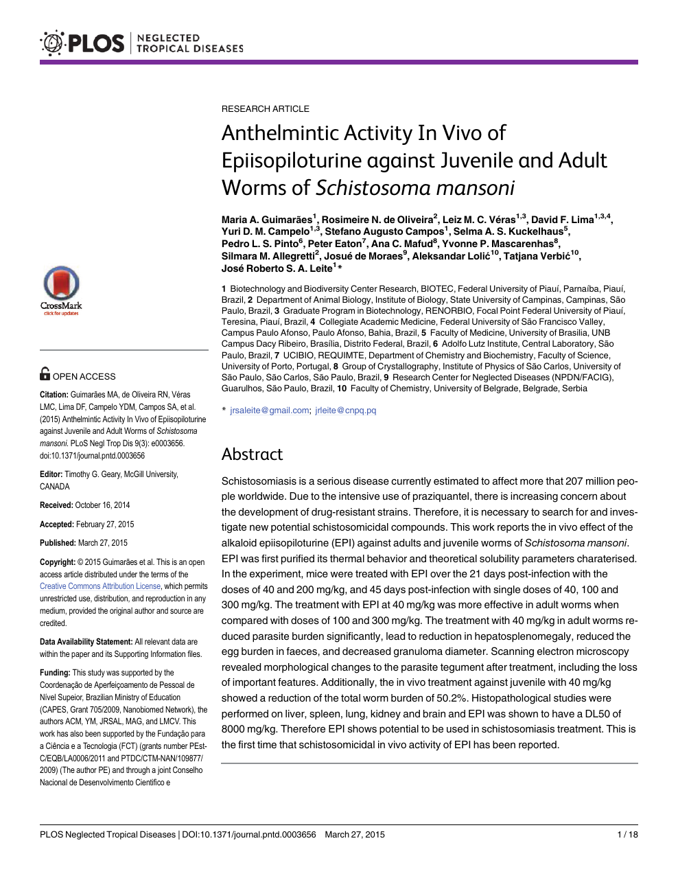 anthelmintic activity articles