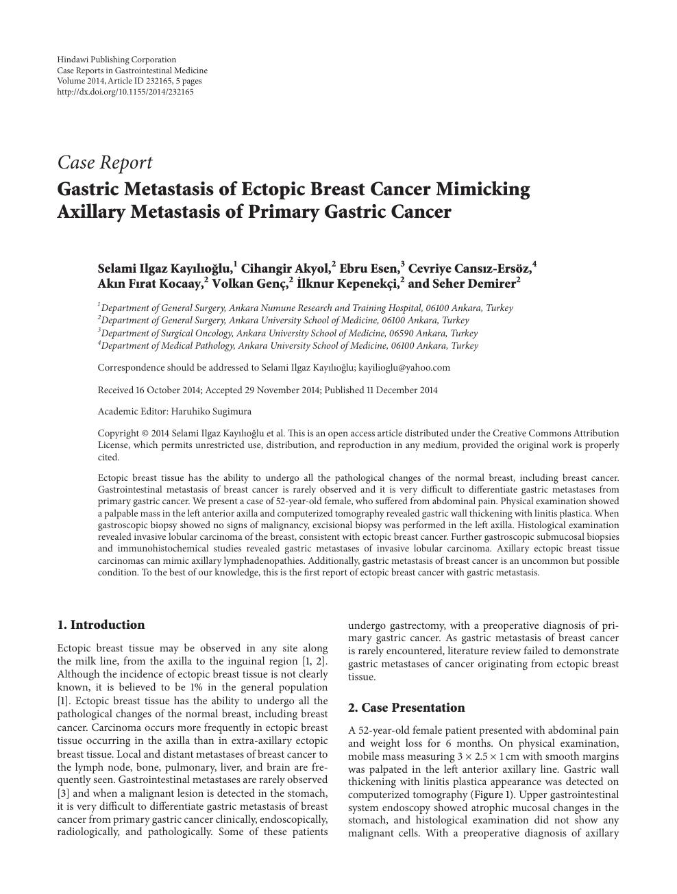 gastric cancer case presentation