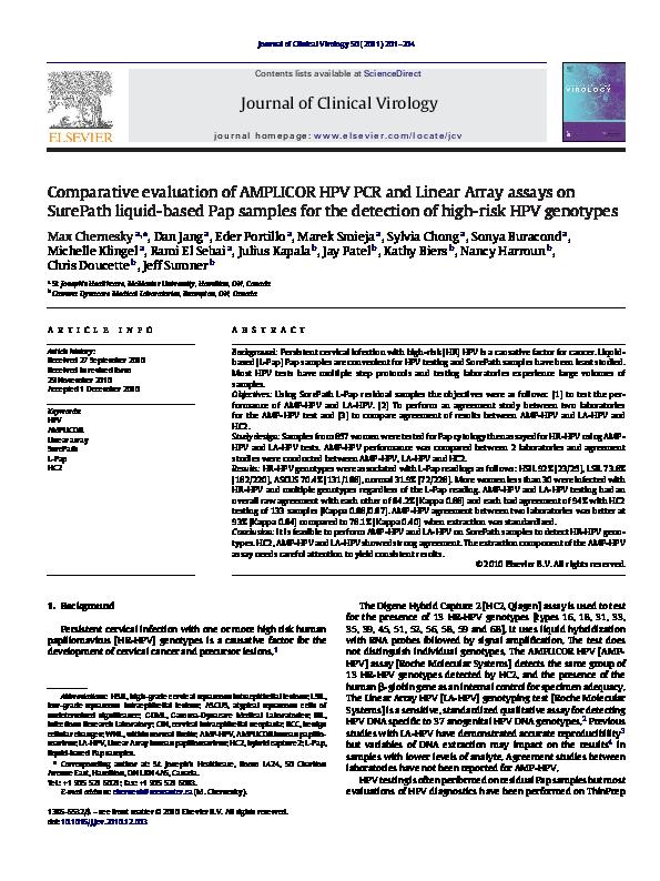 hpv high risk genotyping pcr surepath)