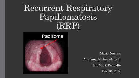 juvenile laryngeal papillomatosis ppt