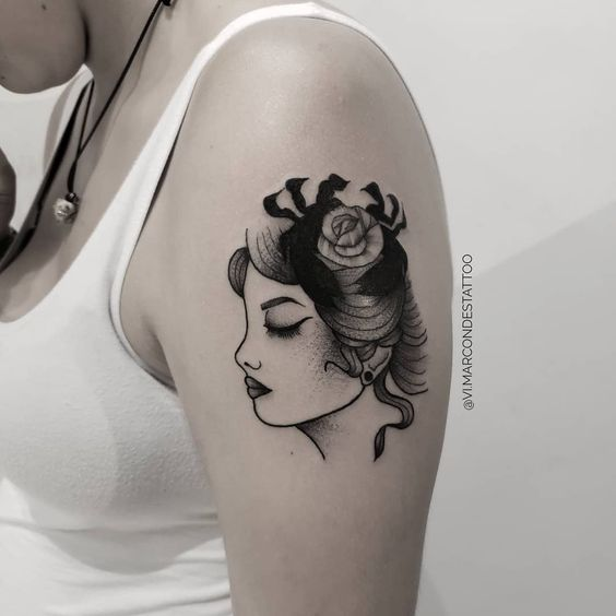 feminine cancer tattoos)