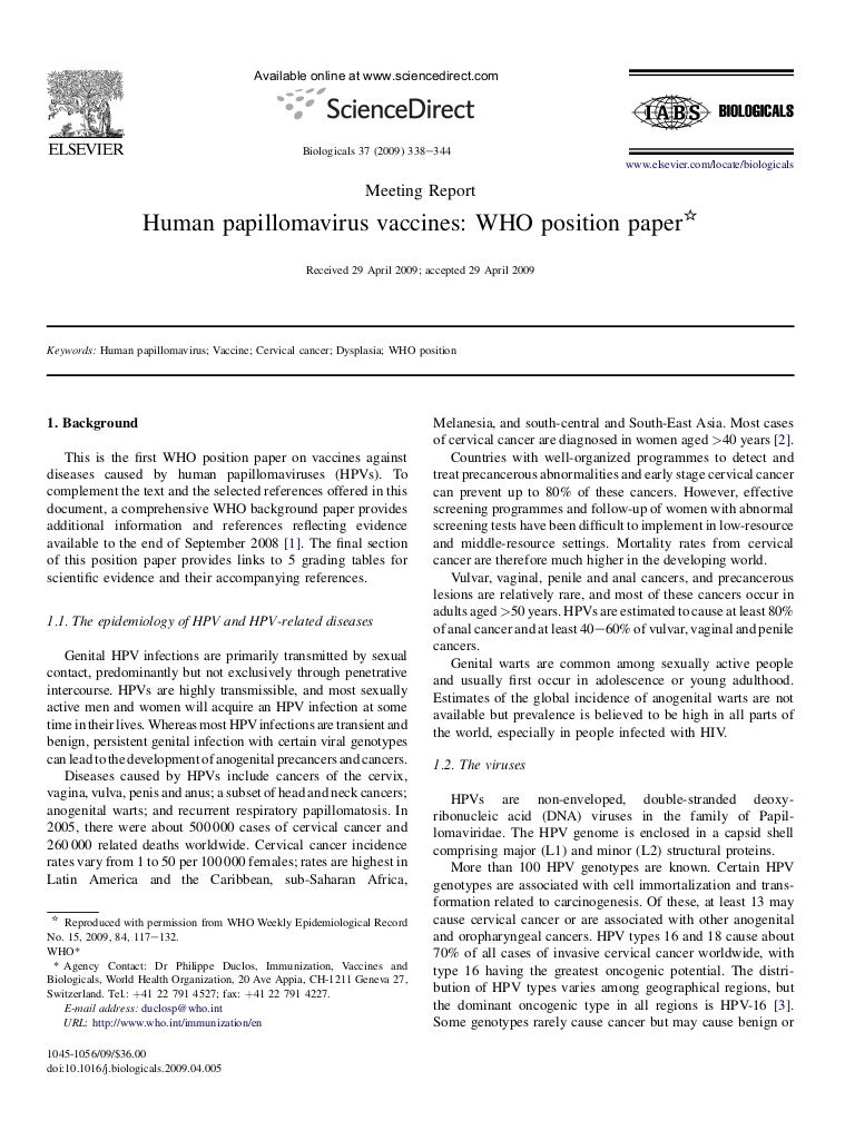 human papillomavirus vaccines who position paper may 2019?recommendations)