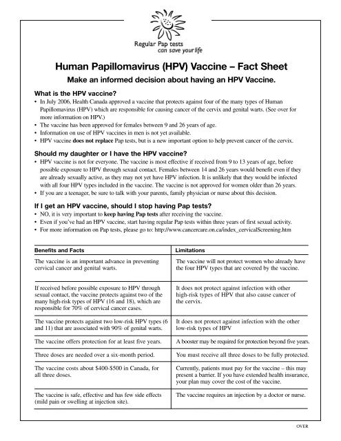 human papillomavirus vaccine information sheet