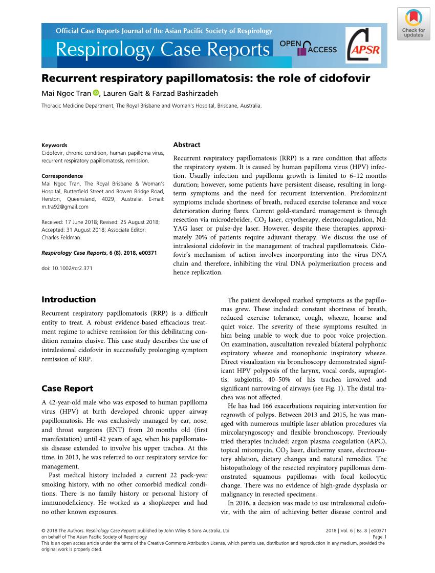 cidofovir in recurrent laryngeal papillomatosis