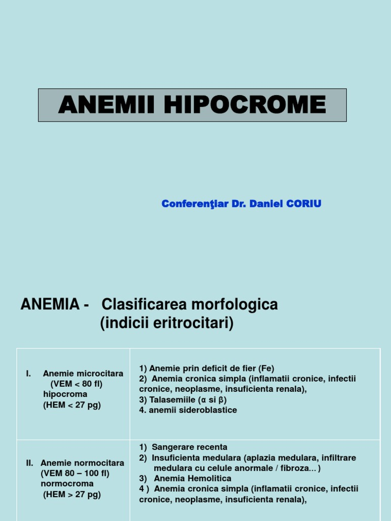 Anemie microcitara hipocroma