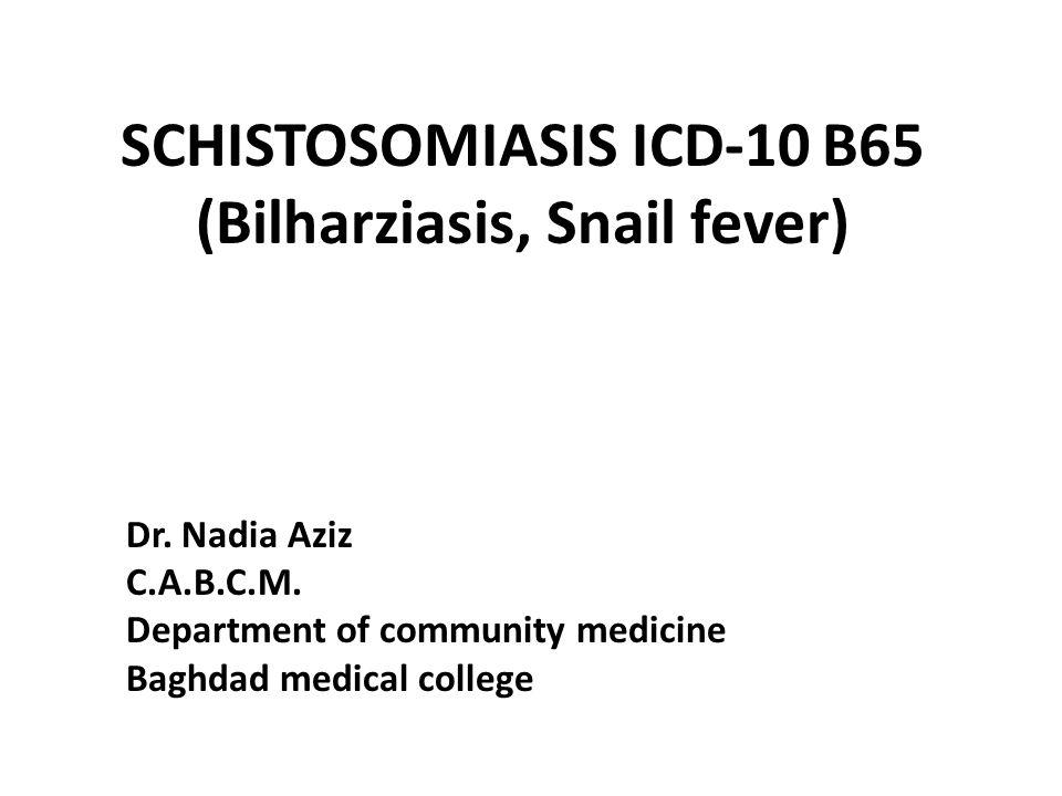 schistosomiasis icd 10