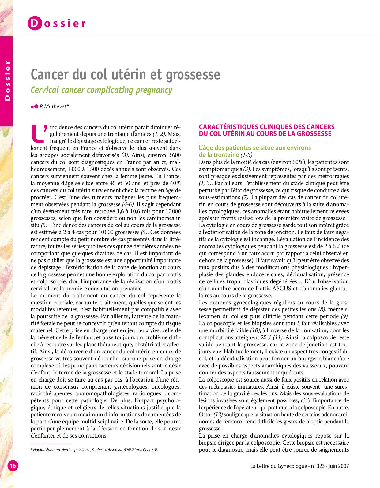 cancer col uterin gravide