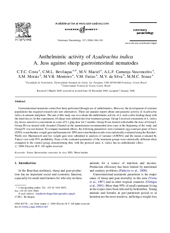 anthelmintic activity of azadirachta indica)