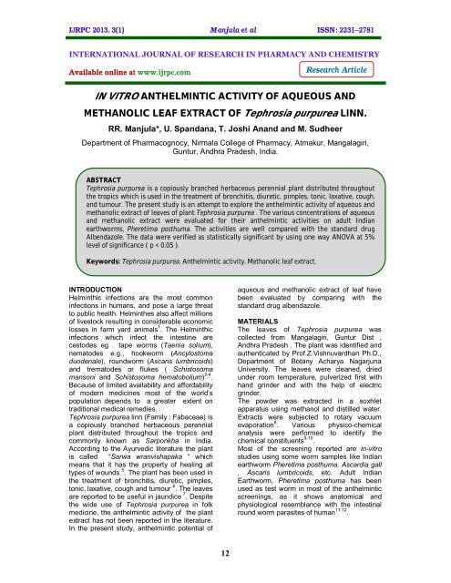anthelmintic activity of plant extracts)