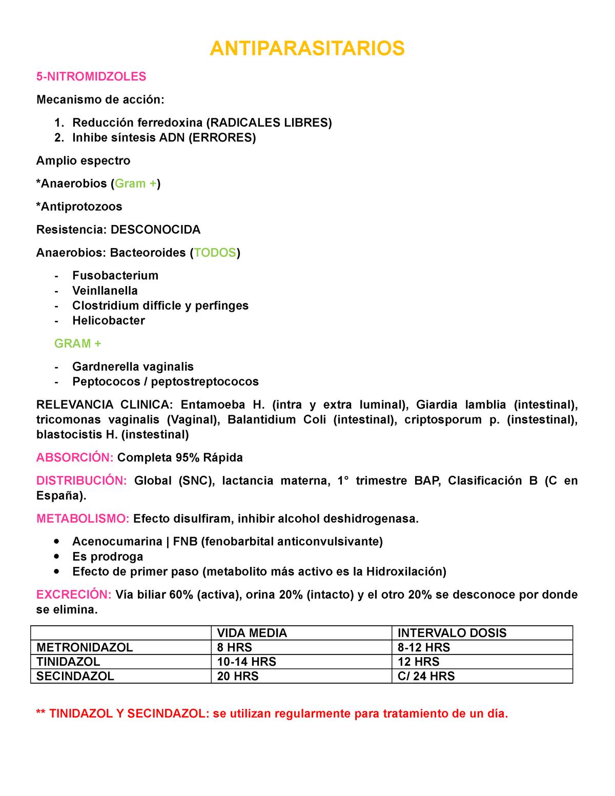 oxiuros tratamiento metronidazol)