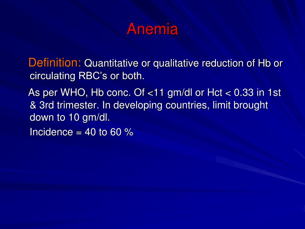 anemia 3rd trimester)