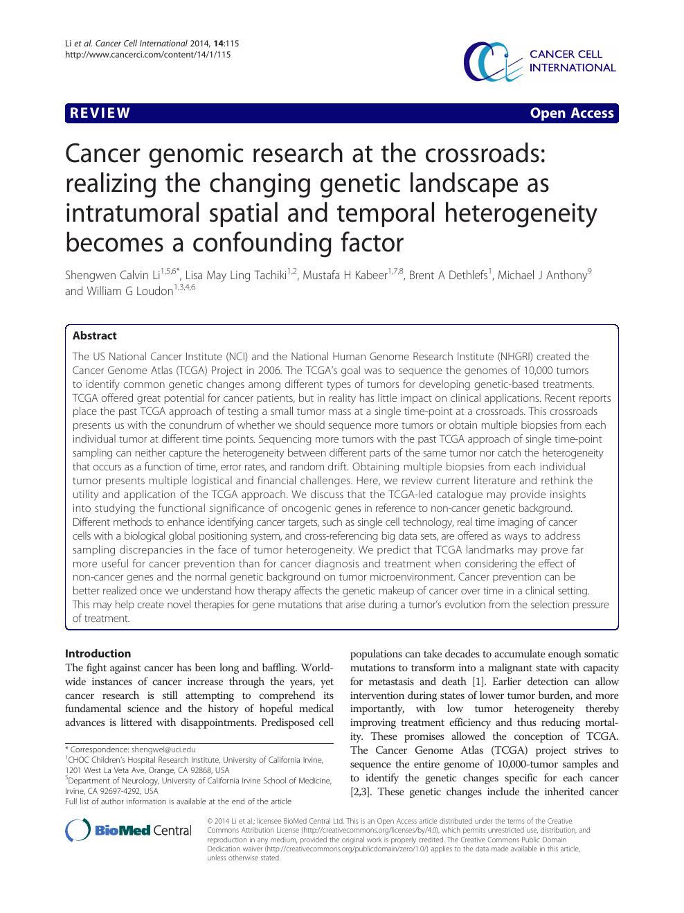 cancer genetic ltd)