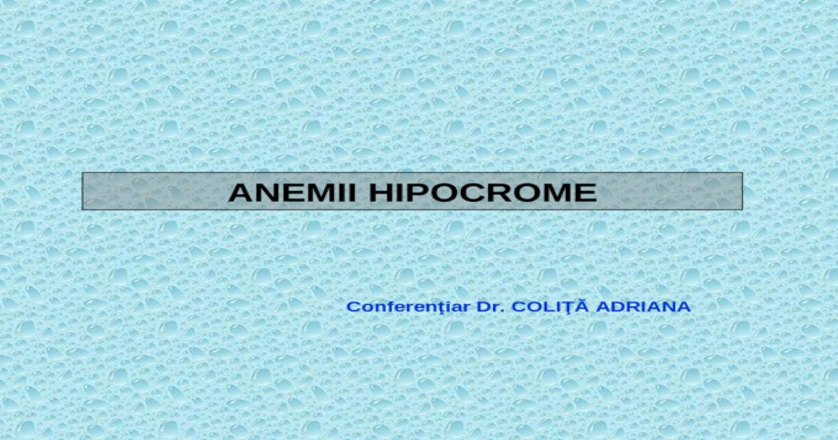 anemie hipocroma tratament
