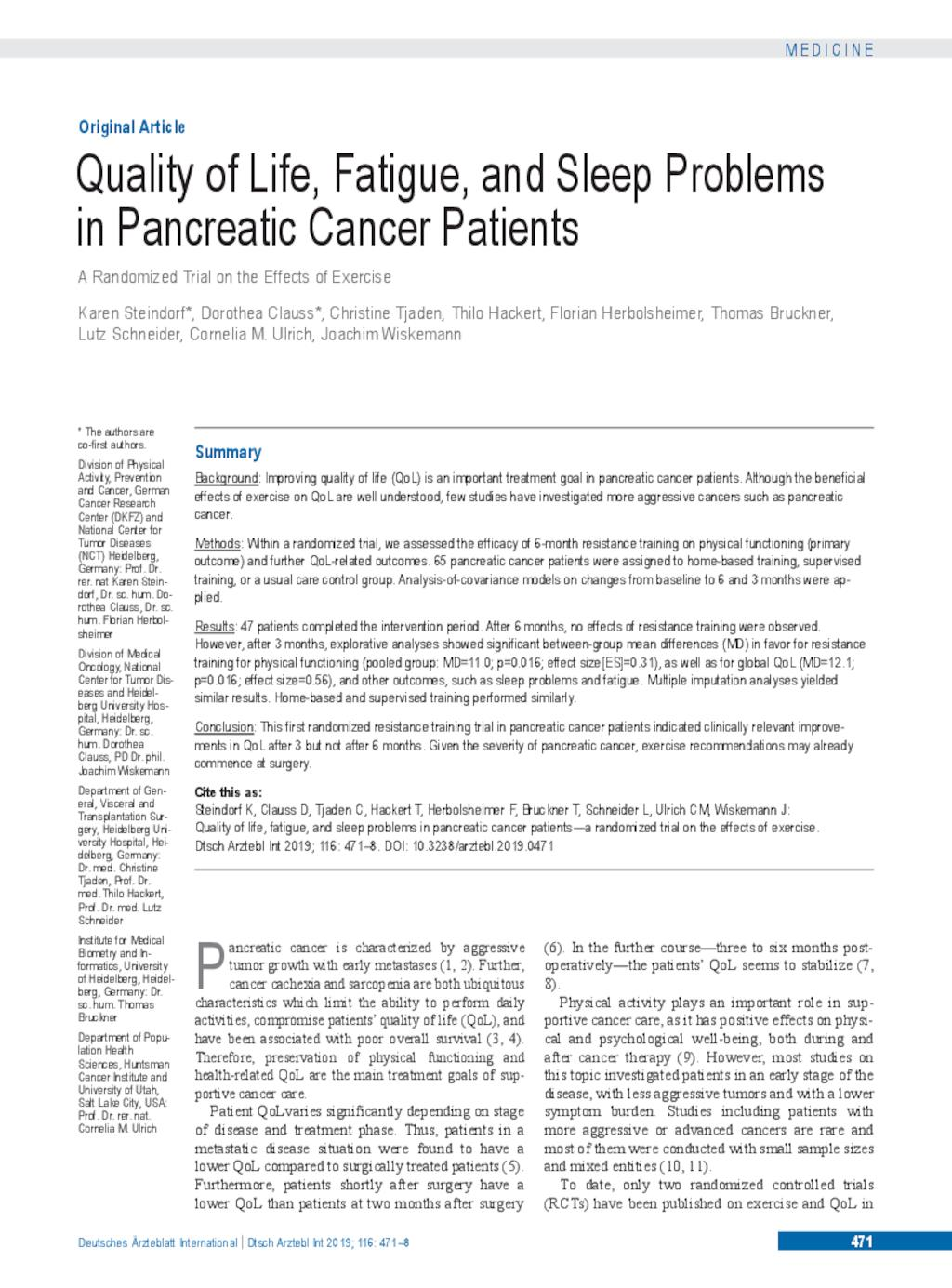 pancreatic cancer quality of life