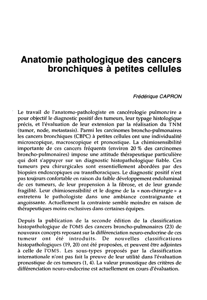cancer neuroendocrine a petite cellule)
