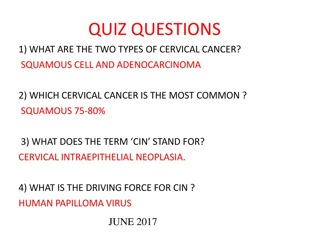 cervical cancer questions)