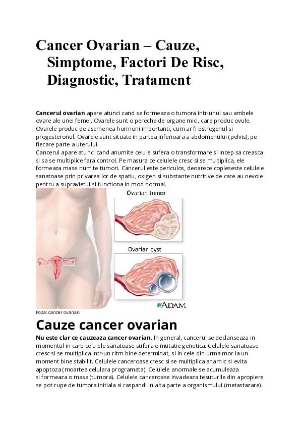 cancerul de ovare cauze cancer col uterin recidivat