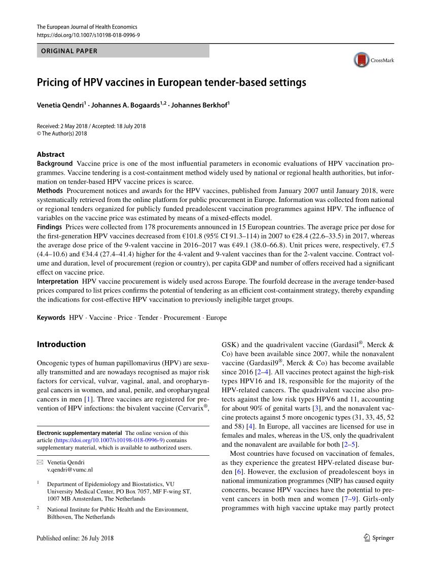 hpv vaccine netherlands price