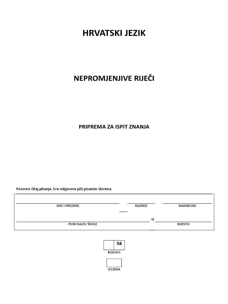 hrvatski jezik 5 razred padezi vjezba)