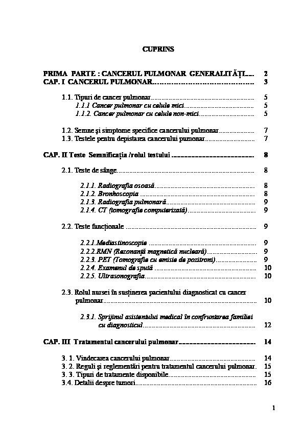 cancerul pulmonar studiu de caz)