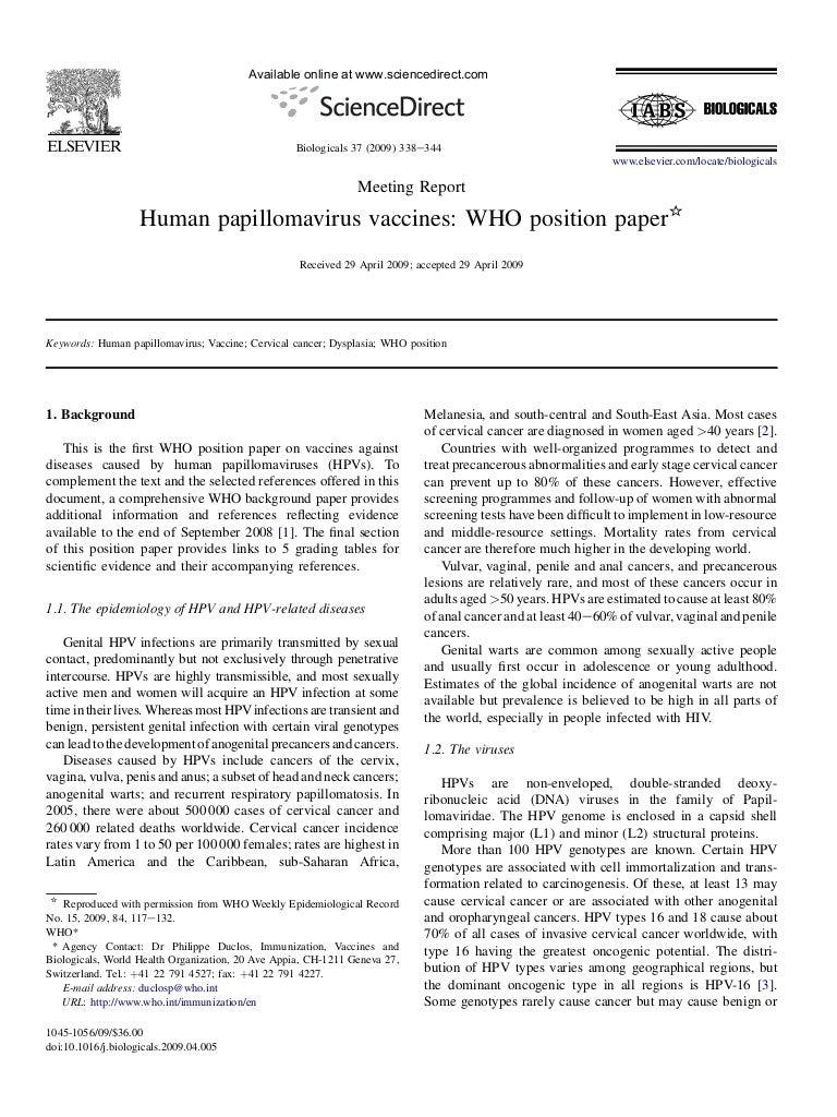 human papillomavirus vaccines who position paper may 2019?recommendations papilloma arcus palatopharyngeus