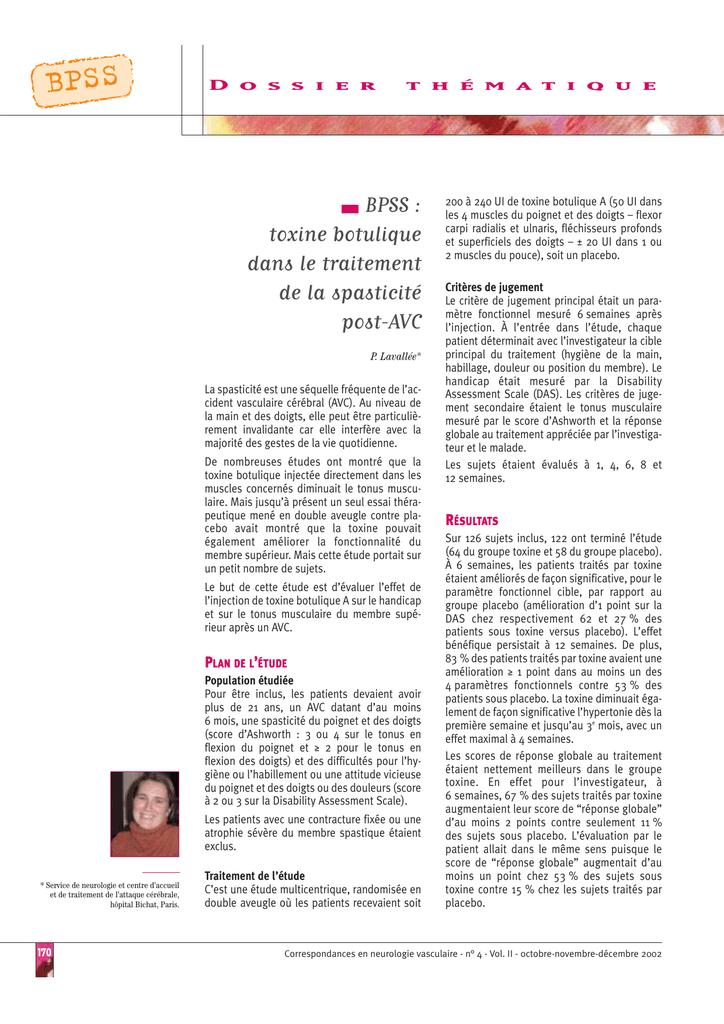 toxine butolique pour avc)