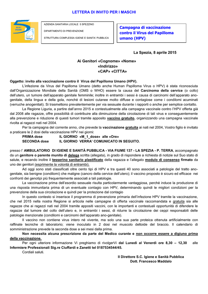 vaccino papilloma virus la spezia)