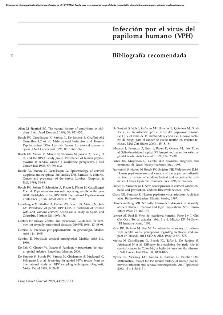 virus del papiloma humano bibliografia)