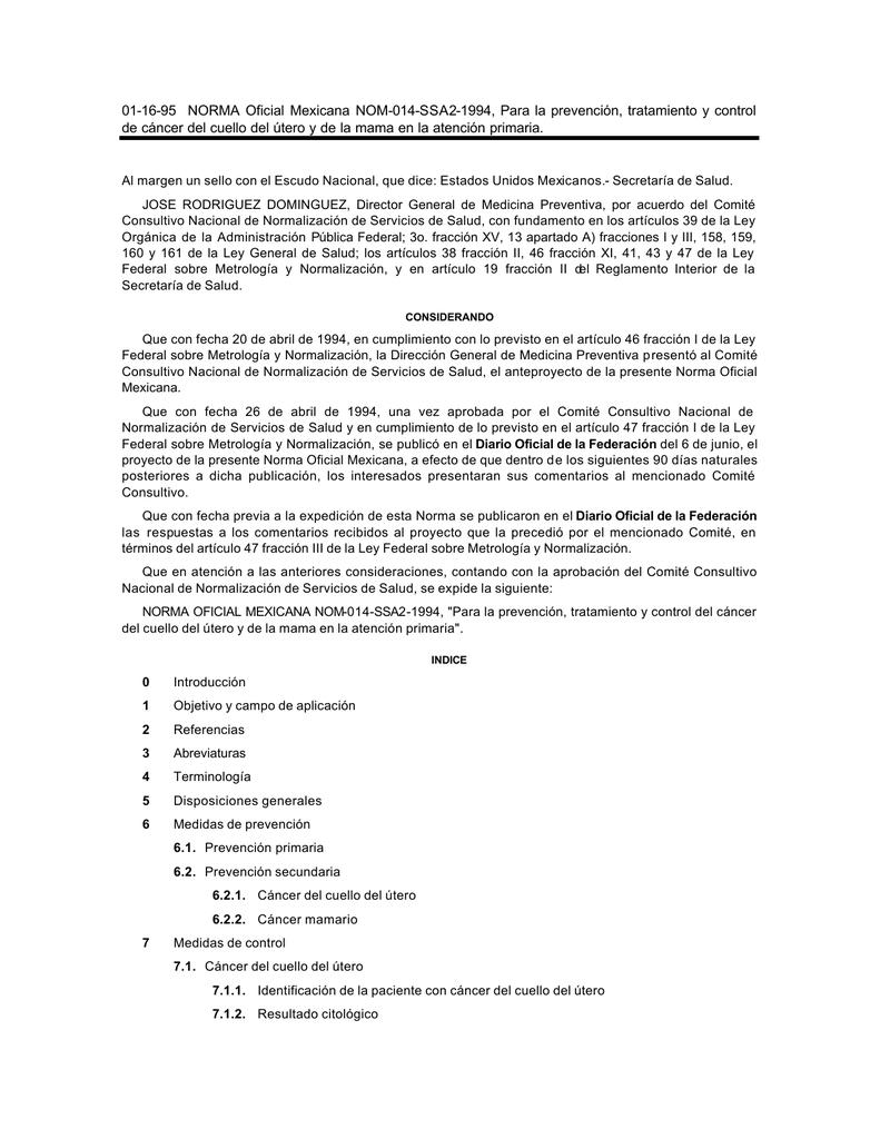 virus papiloma humano norma oficial mexicana