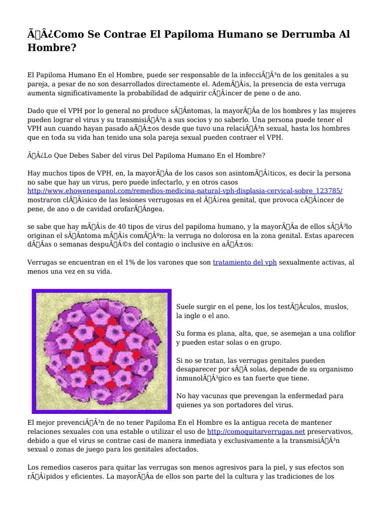 papiloma humano formas de contagio