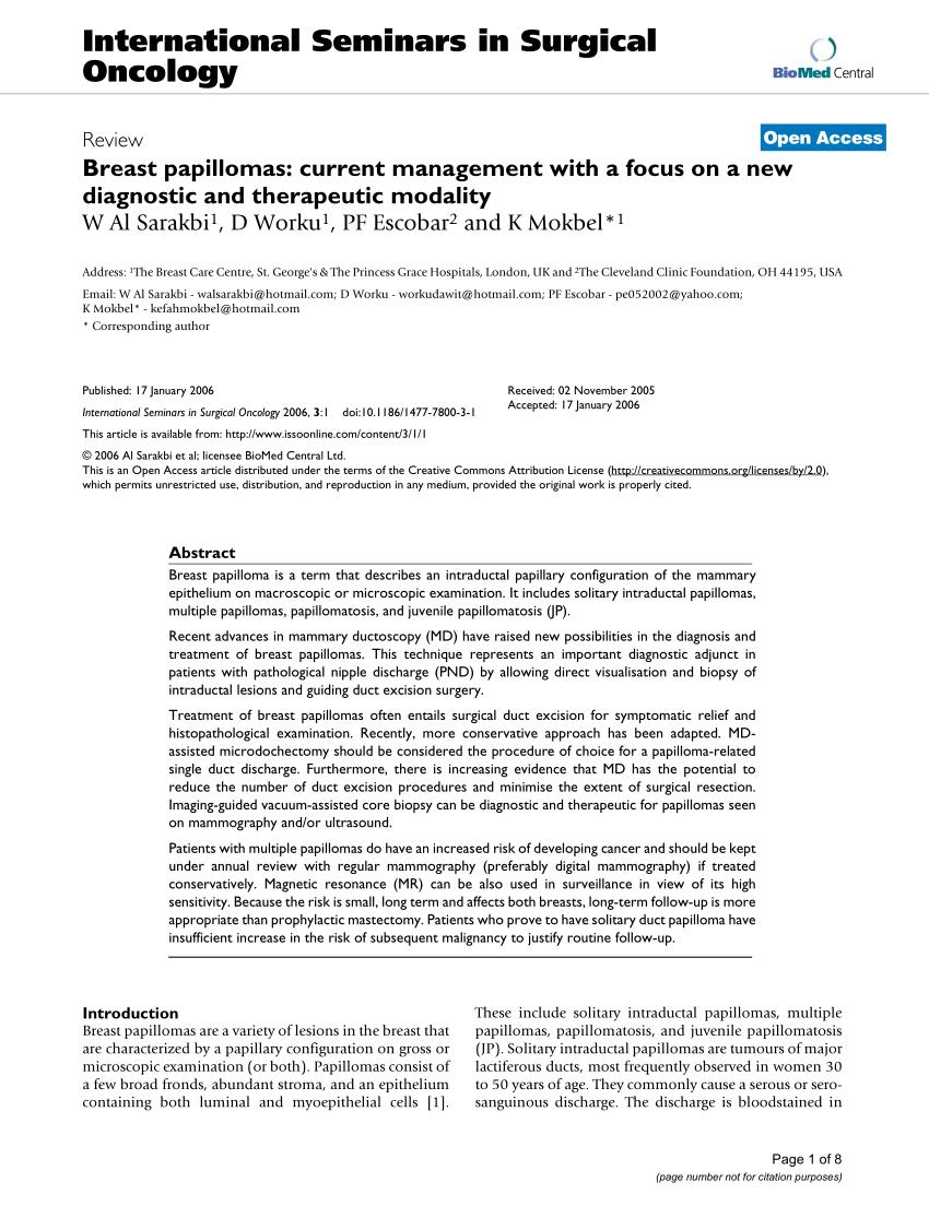 treatment for benign breast papilloma