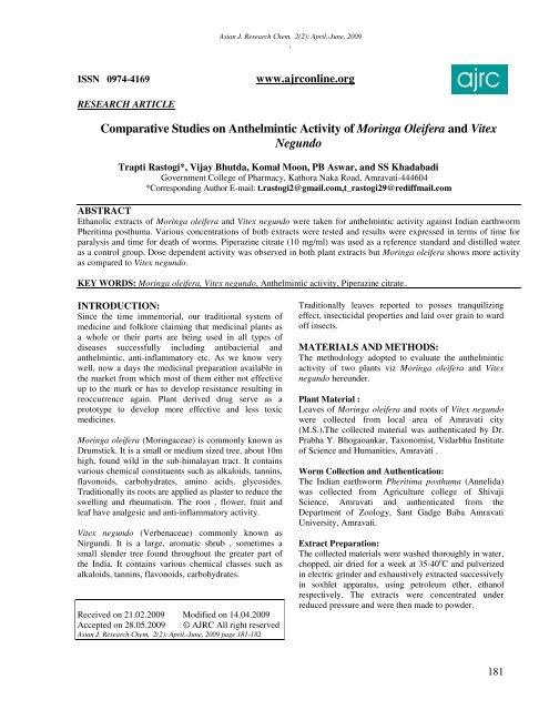 anthelmintic activity methods)