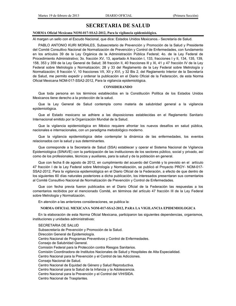 virus papiloma humano norma oficial mexicana diarre v 37