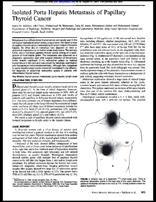 papillary thyroid cancer gallbladder)