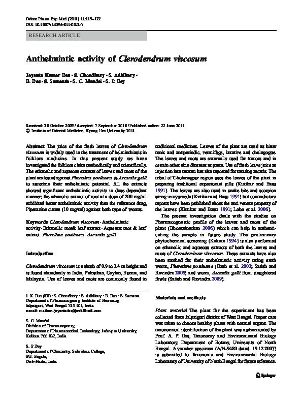 anthelmintic activity methods
