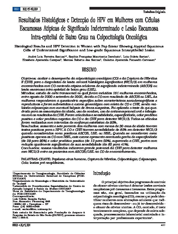 papilloma virus e pap test negativo