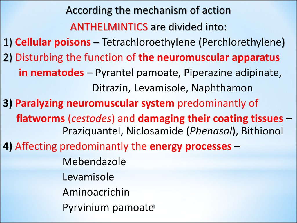 classification of anthelmintic drugs ppt)