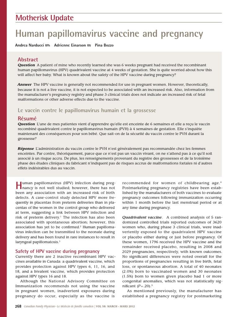 human papillomavirus vaccine for pregnancy)