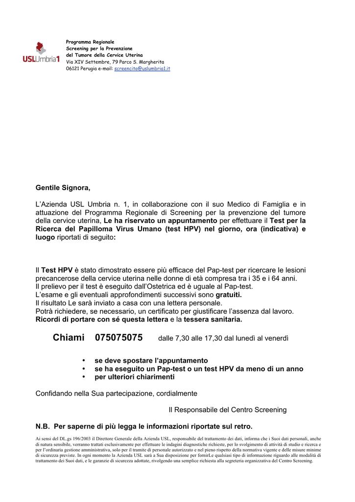vaccino papilloma virus umbria)
